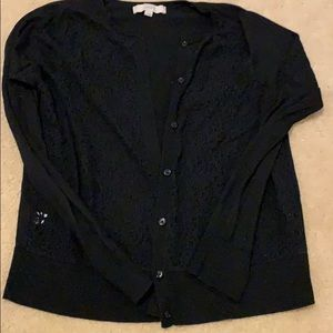 Loft lace detail cardigan black